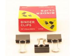 Зажимы для бумаг в наборе, черные, 19 мм, 12 шт., Binder clips