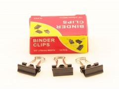 Зажимы для бумаг в наборе, черные, 15 мм, 12 шт., Binder clips