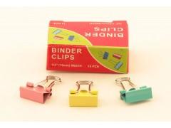 Зажимы для бумаг в наборе, цветные, 15 мм, 12 шт., Binder clips