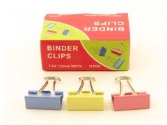 Зажимы для бумаг в наборе, цветные, 32 мм, 12 шт., Binder clips