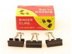 Зажимы для бумаг в наборе, черные, 32 мм, 12 шт., Binder clips