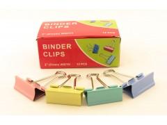 Зажимы для бумаг в наборе, цветные, 51 мм, 12 шт., Binder clips